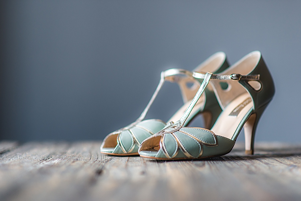 Real Bride Natalie wears Fleur by Naomi Neoh - Mint Green Mimosa Wedding Shoe