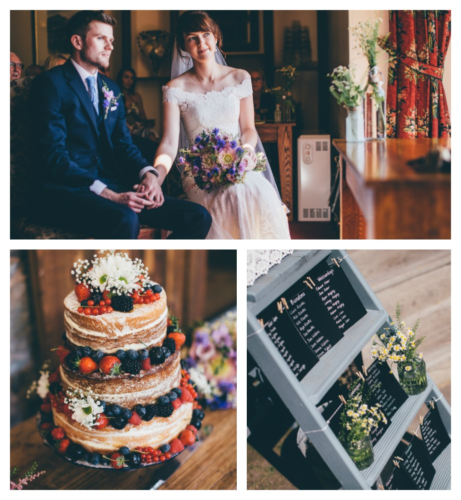 Real bride Clare in Jesus Peiro - Flowers & Cake collage